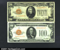Small Size Gold Certificates:Small Size, A Pair of Small Size Gold Notes.Fr. 2402 $20.00 1928 Go...