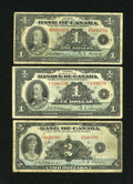 Canadian Currency: , BC-1 $1 1935 Series A VG. BC-2 $1 1935 Fine. BC-3 $2 1935 VG,teller graffiti. . ... (Total: 3 notes)