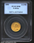South Africa, Zuid Afrikaansche Republick gold 1/2 pond 1893, Bust left/Arms with date and value, F-3, KM-9.2, XF40 PCGS...