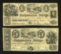 Canadian Currency: , Queenston, UC- The Niagara Suspension Bridge. $1 Oct. 13, 1840 Ch.# 535-10-06-02. $5 Oct. 13, 1840 Ch. # 535-10-06-06. ... (Total: 2notes)