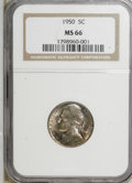 Jefferson Nickels: , 1950 5C MS66 NGC. NGC Census: (216/44). PCGS Population (71/0).Mintage: 9,700,000. Numismedia Wsl. Price for NGC/PCGS coin...