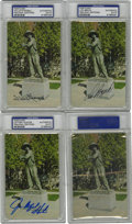 """Autographs:Post Cards, Baseball Hall of Famers Signed Postcards, PSA Authentic. Each ofthese portraits portraying the """"Sand Lot Kid"""" includes a s..."""
