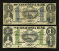 Canadian Currency: , Toronto, CW- The International Bank. $1 Sept. 15, 1858 Ch. # 380-10-06-04. $1 Sept. 15, 1858 Ch. # 380-10-14-08. ... (Total: 2 notes)