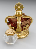 Royal Memorabilia, Victorian Bronze Doré Inkwell in the Form of the EnglishRoyal Crown to Commemorate Queen Victoria's Diamond Jubil...