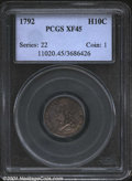 1792 H10C Half Disme, Judd-7, Pollock-7, R.3, XF45 PCGS. Formerly offered as lot 997 in the Harold Blauvelt Collection...