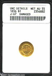 1836 PG$1 Gold Dollar, Judd-67, Pollock-70, R.5--Damaged--ANACS. Unc. Details, Net AU55. The obverse features a circular...