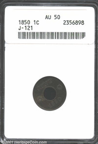 1850 P1C One Cent, Judd-121 Original, Pollock-136, R.7, AU50 ANACS. Franklin Peale's design for an annular (ring-form) p...