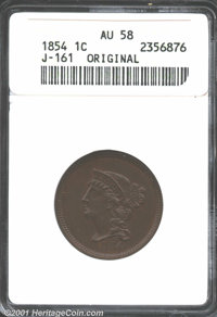 1854 P1C One Cent, Judd-161 Original, Pollock-187, R.4, AU58 ANACS. The central motif of the obverse is very similar to...