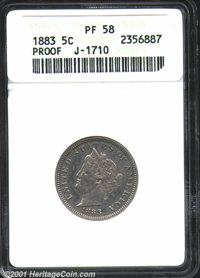 1883 5C Liberty Head Five Cents, Judd-1710, Pollock-1914, R.5-6, PR58 ANACS. The obverse is similar to that used on regu...