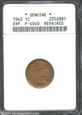 1942 Cent, Unlisted in Judd, Pollock-4040, R.7(?)--Repaired--ANACS. Certified as genuine, but not graded. One of J.R. Si...