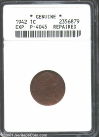 1942 Cent, Unlisted in Judd, Pollock-4045, R-7(?)--Repaired--ANACS. Certified as genuine, but not graded. Type One. Like...