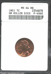 (Undated) General Motors Roller Dies Cent, Unlisted in Judd, Pollock-4060, R.5(?) MS64 Red and Brown ANACS. A second and...