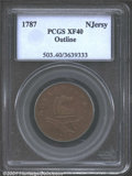 1787 New Jersey Copper XF40 PCGS. Outlined Shield. Maris 48-g. Struck on a porous planchet, but showing much hidden lust...