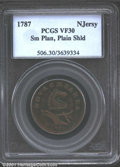 1787 NJERSY New Jersey Copper VF30 PCGS. Small Planchet, Plain Shield. Maris 39-a. Deep brown patina in the fields is of...