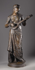 Bronze:European, ADRIEN ÉTIENNE GAUDEZ (French 1845-1902). Woman Playing TheLute. Bronze. 41-1/2 x 19 x 14 inches (105.4 x 48.2 x 35.6 c...