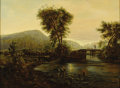Fine Art - Painting, American:Antique  (Pre 1900), NINETEENTH CENTURY SCHOOL. LandscapePossibly American. Oilon board. 21 x 28-1/2 inches (53.3 x 72.4 cm). ...