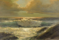 ROBERT WOOD (1889-1979) Woods Cove, 1957 Oil on masonite 24in. x 36in. Signed and dated lower right  After moving