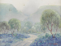DAWSON DAWSON-WATSON (1864-1939) Untitled Bluebonnet Landscape, 1936 Oil on canvas 17in. x 21in. Signed and dated lower...