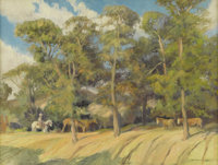 HARRY ANTHONY DEYOUNG (1893-1956) Horses in Woods Oil on canvasboard 18in. x 24in. Signed verso  This Harry Anthon