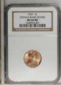Lincoln Cents, 1957 1C MS66 Red NGC. Ex: Omaha Bank Hoard. NGC Census: (835/21).PCGS Population (446/5). Mintage: 283,787,968. Numismedi...