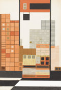 Texas:Early Texas Art - Modernists, COREEN MARY SPELLMAN (1905-1978). Building Tiles, 1959. Cutpaper collage. 22in. x 15in.. Signed and dated lower right. ...