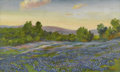 Texas:Early Texas Art - Impressionists, SAMUEL E. GIDEON (1875-1945). Untitled Bluebonnet Landscape. Oil oncanvasboard. 19 1/4in. x 32in.. Signed lower right. Sa...