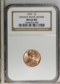 Lincoln Cents, 1957 1C MS66 Red NGC. Ex: Omaha Bank Hoard. NGC Census: (835/21).PCGS Population (446/5). Mintage: 283,787,968. Numismedia...