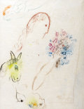 Paintings, MARC CHAGALL (Belarussian-French 1887-1985). Femme au bouquet, circa 1960s-70s. Colored crayons on Japon paper. 26-3/4 x...