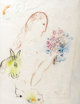 MARC CHAGALL (Belarussian-French 1887-1985) Femme au bouquet, circa 1960s-70s Colored crayons on Japon paper 26-3/4 x