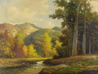 ROBERT WOOD (1889-1979) Colorado Mountains, 1930s to early 1940s Oil on canvas 30in. x 40in. Signed lower right Tit