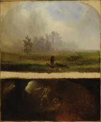 WILLIAM HOLBROOK BEARD (American 1824-1900) It Rains It Shines, The Devil Whipping His Wife Oil on canvas 24 x 20 inc