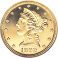 Proof Liberty Half Eagles: , 1892 $5 PR66 ★ Cameo NGC. The mintage of proof 1892 half eagles was limited to 92 coins, and ...