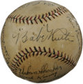 Autographs:Baseballs, 1927 New York Yankees Team Signed Baseball. Of the twenty-sixpinstriped editions to deliver World Championship glory to th...