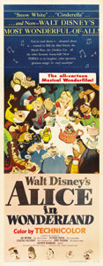 "Movie Posters:Animated, Alice in Wonderland (RKO, 1951). Insert (14"" X 36"")...."