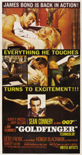 "Movie Posters:James Bond, Goldfinger (United Artists, 1964). Three Sheet (41"" X 81"")...."