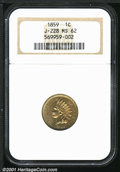 1859 P1C Indian Cent, Judd-228, Pollock-272, R.1, MS62 NGC. A transitional pattern with the obverse of 1859 paired with...
