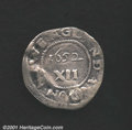 1652 SHILNG Oak Tree Shilling Fine 12 Damaged, Repaired. Noe-9. 3.80 grams. This coin was holed and plugged at 6 o'clock...
