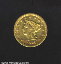 1844-D $2 1/2 VF 30. Few Dahlonega gold specimens remain to this day unscathed by damage, cleaning, or some other altera...