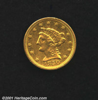 1850-C $2 1/2 AU 50 Cleaned. A rare Charlotte Mint quarter eagle with only an estimated 60-75 pieces believed to exist i...