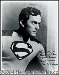 """Kirk Alyn--Superman - A classic 8 x 10 black and white glossy pose of Alyn as the Superman, nicely inscribed, """"To L..."""