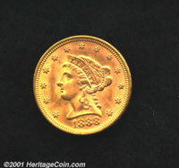 1888 $2 1/2 MS 64. Reflective, deep orange gold mint luster. At 16,001 coins struck still a premium coin. Uncertified...