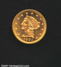 1891 $2 1/2 MS 63. Sparkling, reflective surfaces with an even strike. A low mintage date in the '90s, one of just 10,96...