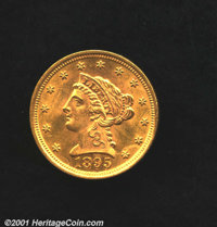 1895 $2 1/2 MS 63. Brilliance to the fields and nice detail. Not an easy find, the mintage being 6,000 coins. Uncertifie...
