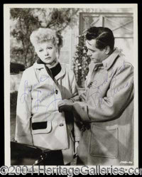 "Lucy and Desi - Rare ad highly desirable 8 x 10 black and white photograph, beautifully signed ""Love, Lucy"" an..."