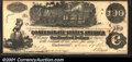 Confederate Notes:1862 Issues, 1862 $100 Railway train; Straight Steam from Locomotive; Milkma...
