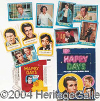 Large Lot of Trading Cards - Happy Days 1976 Trading Card Set # 1 (44 blue cards, 11 yellow stickers, 1red border wrappe...