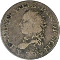 Early Half Dimes: , 1792 H10C Half Disme, Judd-7, Pollock-7, R.4, Fine 12 PCGS. Fewcoins in the history of U.S. numismatics have been as embel...