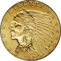 Indian Quarter Eagles: , 1911-D $2 1/2 MS62 PCGS. This piece is sharply struck with excellent obverse and reverse design definition, including a bol...