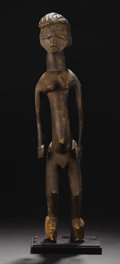 African: , Lobi ? (Burkina Faso/ Côte d'Ivoire). Standing Figure. Wood.Height: 21 ½ inches Width: 4 ¾ inches Depth: 5 ¼ inches. T...