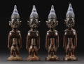 African: , Yoruba (Nigeria). Four Ibeji Figures. Wood, metal, camwood,indigo and laundry bluing, beads. Height: 10 ½ inches Widt...(Total: 4 Items)